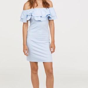 H&M Blue Off The Shoulder Dress
